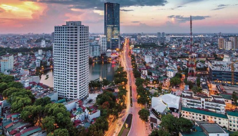 ベトナム・ハノイ街の外観