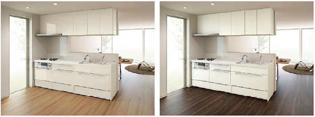 床とキッチンの色合い
