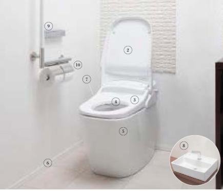 トイレ各部名称の番号