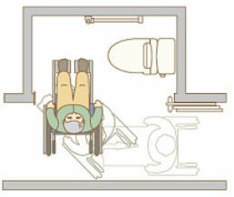 車椅子でのトレイの利用の絵