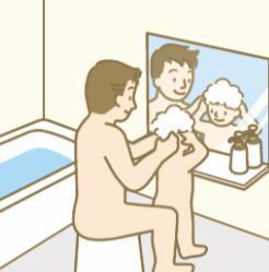 身体全体を洗う